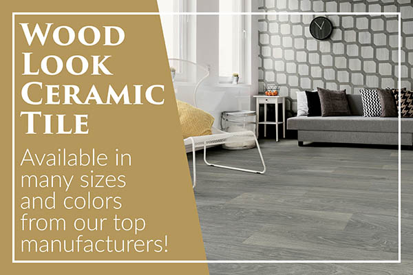 Wood-look ceramic tile available in many sizes and colors from our top manufacturers.  Stop by today for savings!